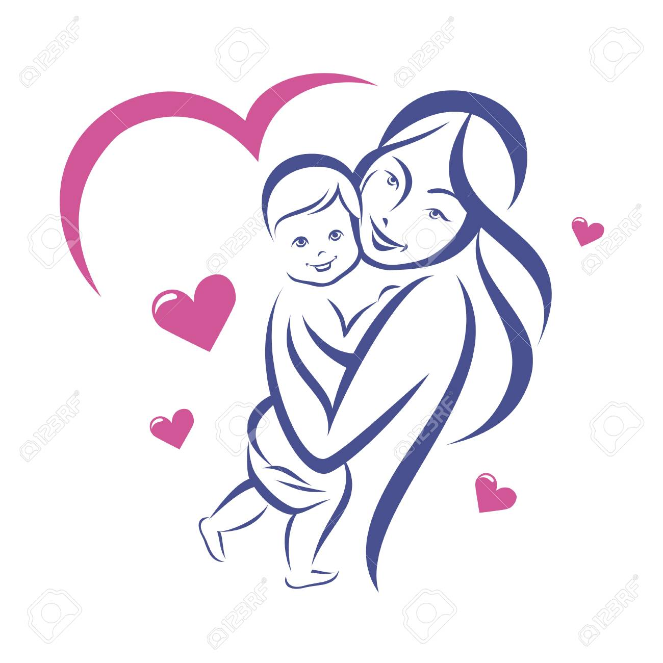 Happy mother and baby smiling family outlined vector sketch stock vector 89821413