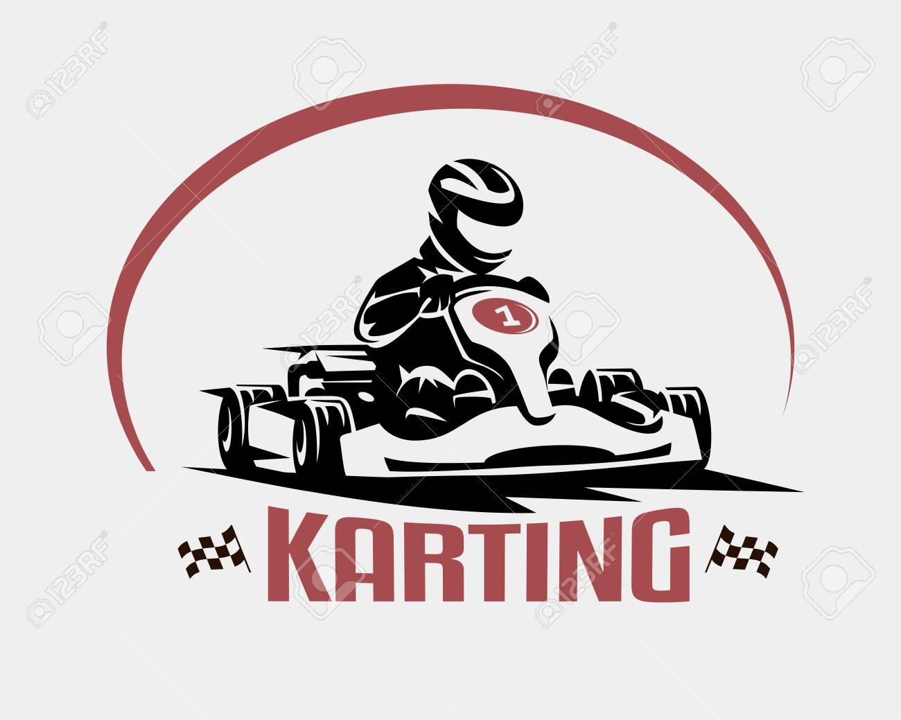 karting race vector symbol, logo or emblem template - 95737143