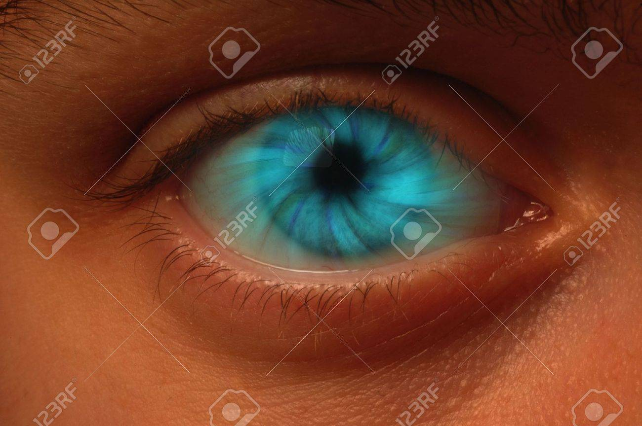 Close-up of eyeball with a blue vortex Stock Photo - 7566000