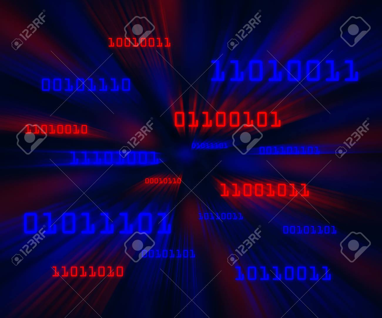 Red and blue bytes of binary code flying through a vortex. Horizontal Stock Photo - 8281575