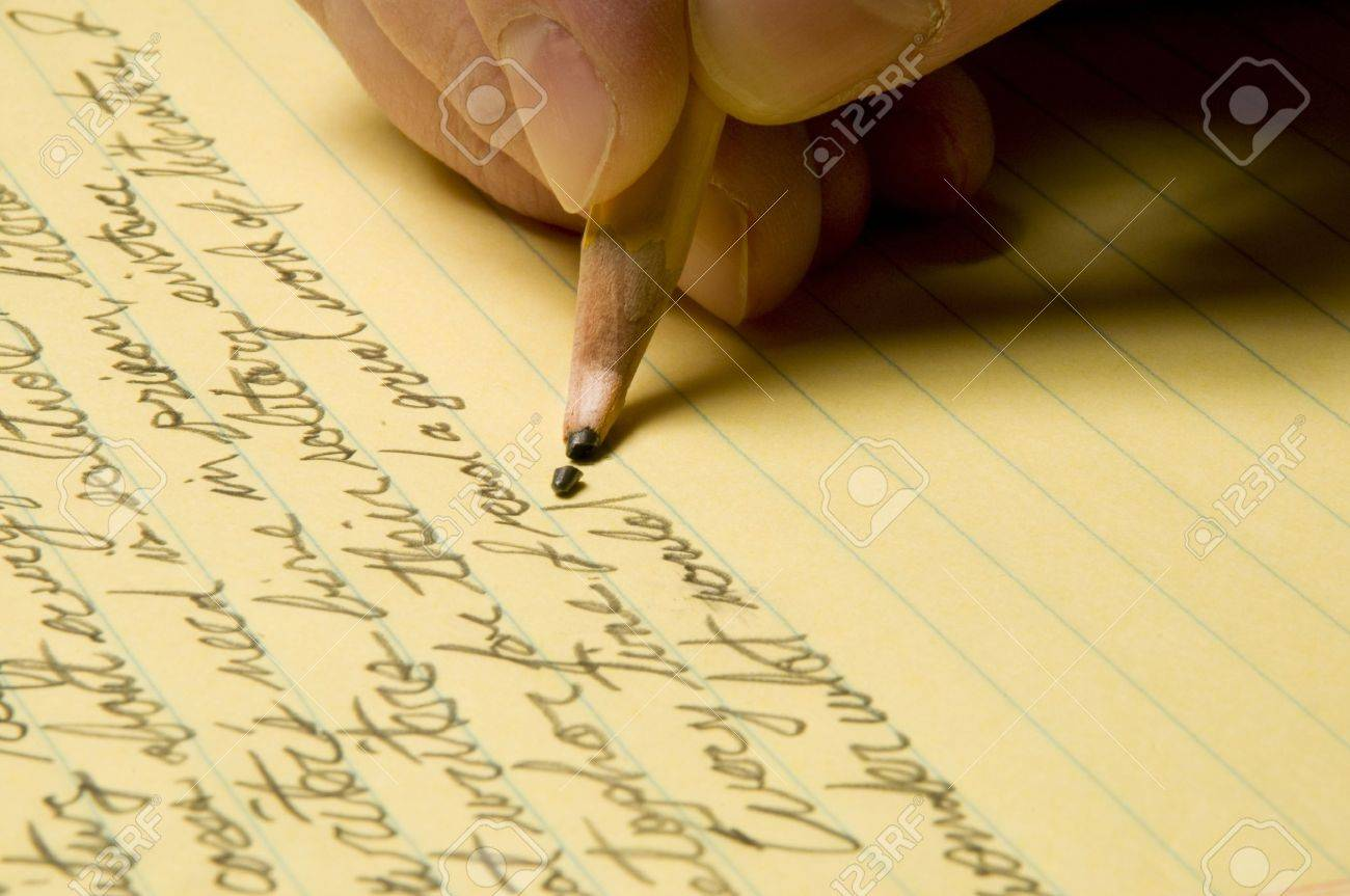 Handwriting with broken pencil point on yellow legal pad stock photo handwriting with broken pencil point on yellow legal pad stock photo 10311140 maxwellsz
