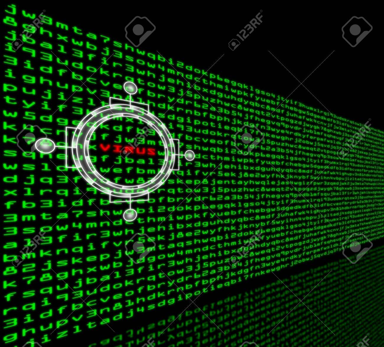 the word virus is highlighted in a wall of green machine code stock