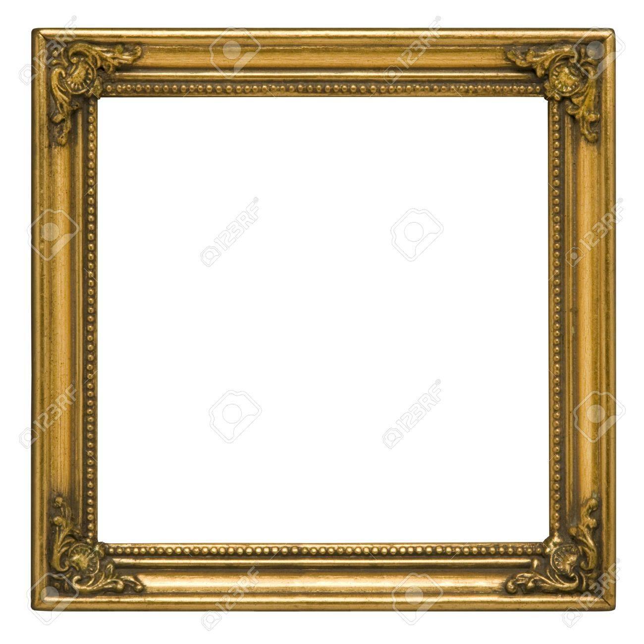 antique quadratischen bilderrahmen bemalt gold vor weißem