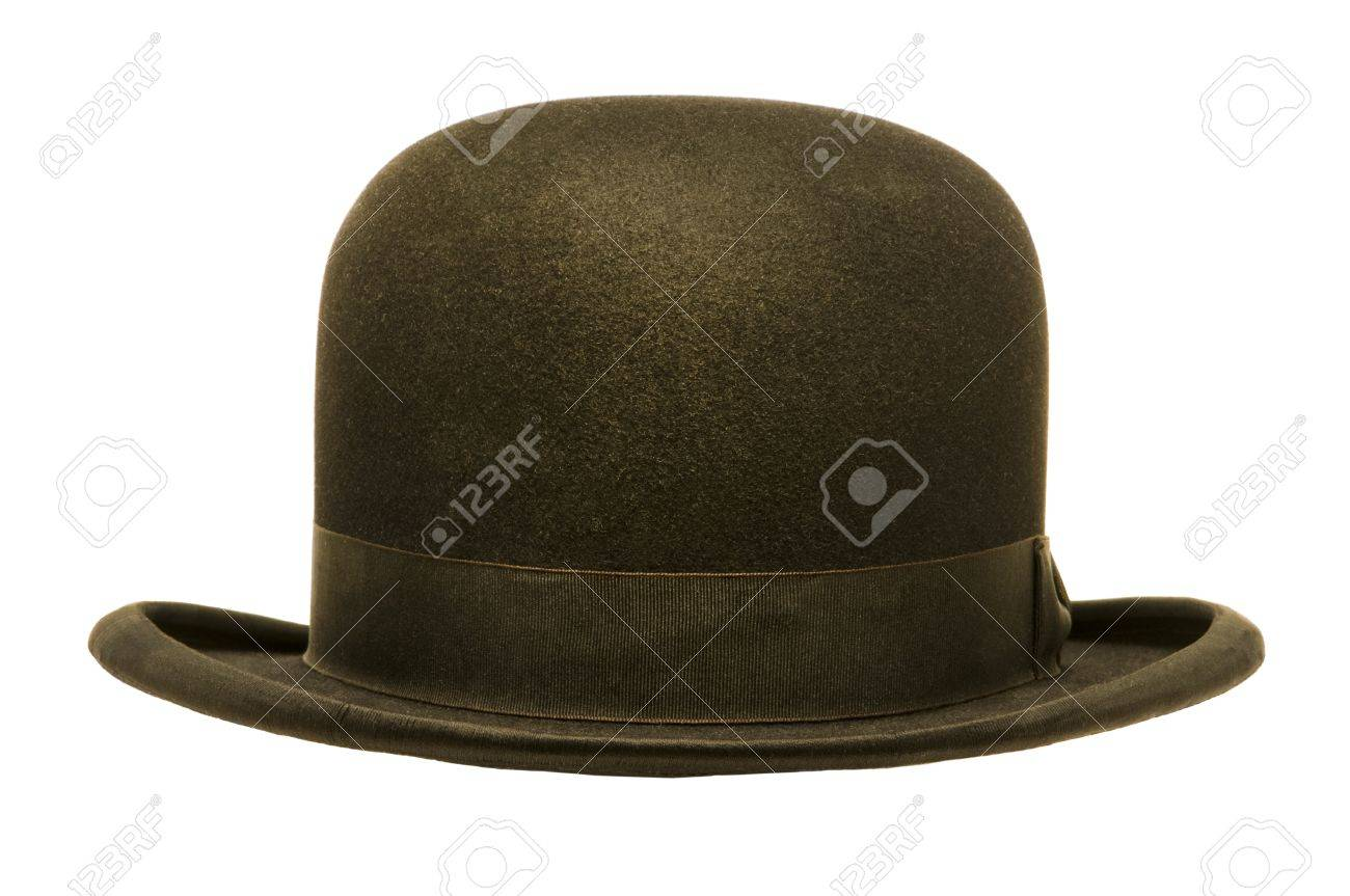 37a55ec8082 A black derby or bowler hat isolated against a white background Stock Photo  - 22114593