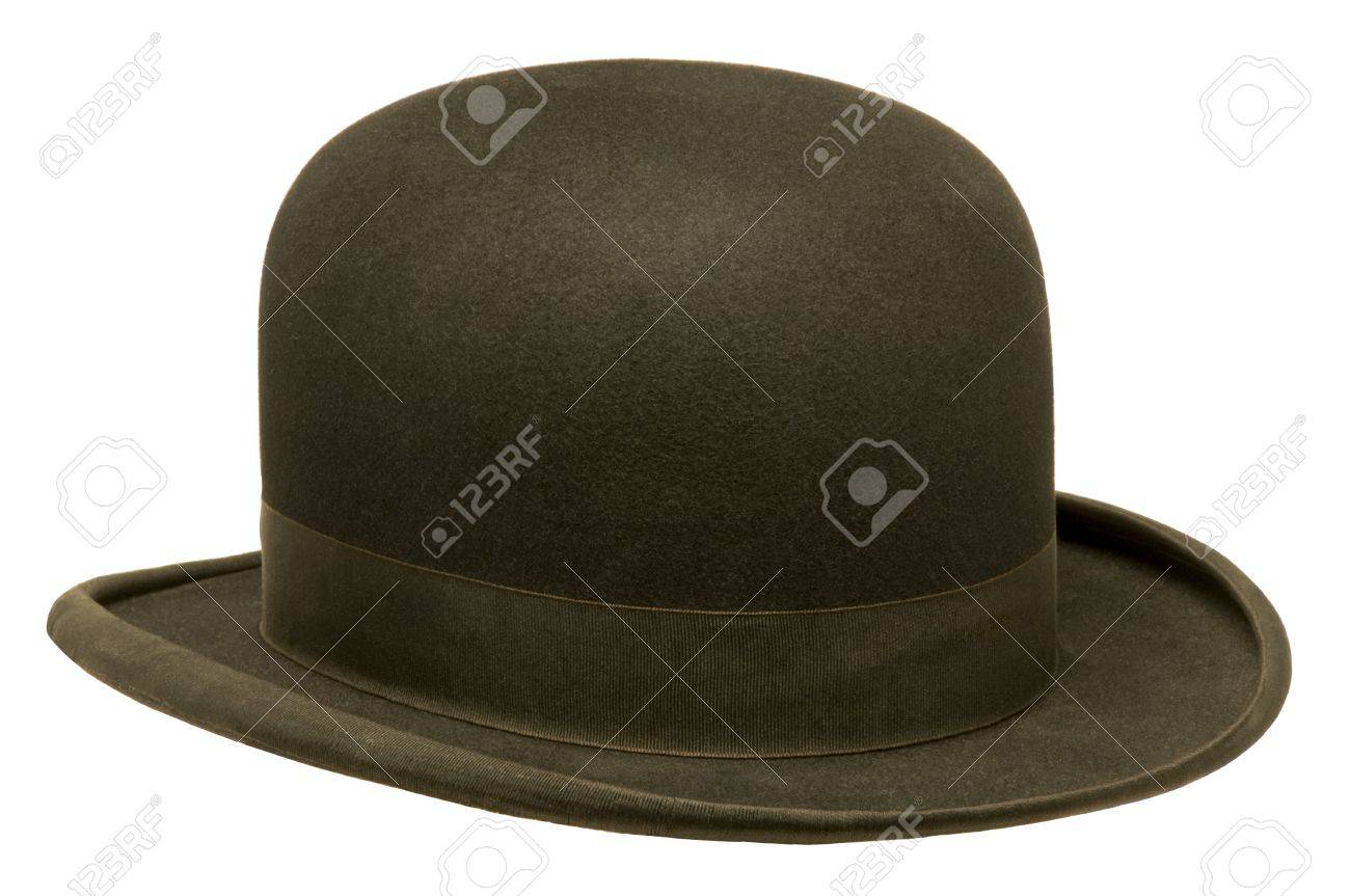 1d3cc2df193 Black bowler or derby hat isolated against white background Stock Photo -  22116304