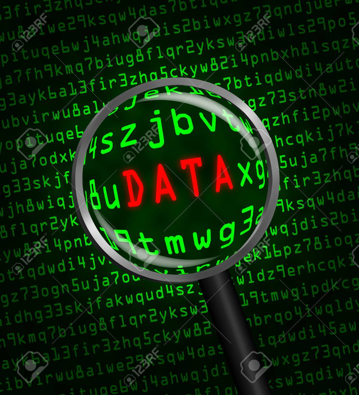 stock photo the word data in red revealed in green computer machine code through a magnifying glass