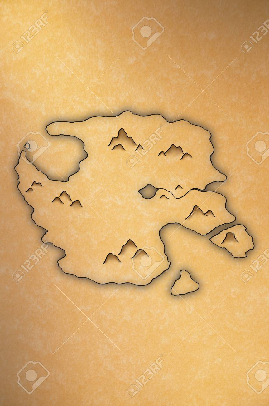Antiquelooking Map Of An Island On Yellow Paper Stock Photo - Antique looking maps