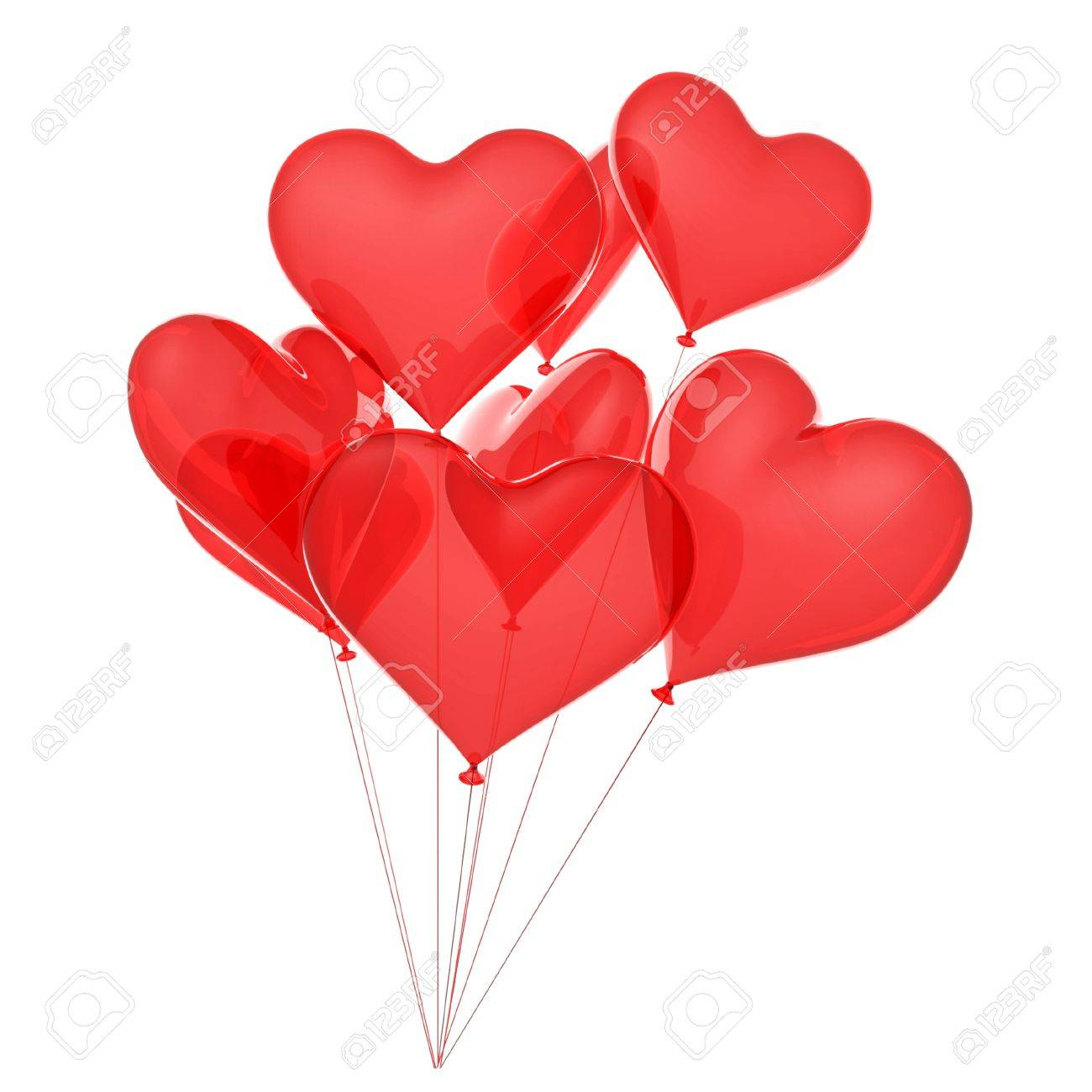 Copula of balloons as red hearts Stock Photo - 9029575