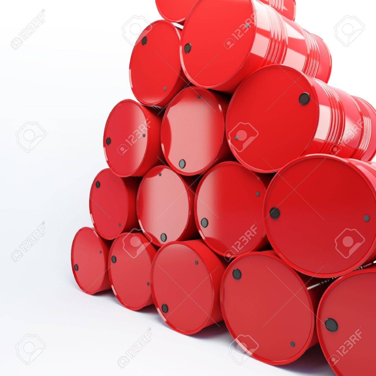 heap from barrels with oil on a white background Stock Photo - 10424346