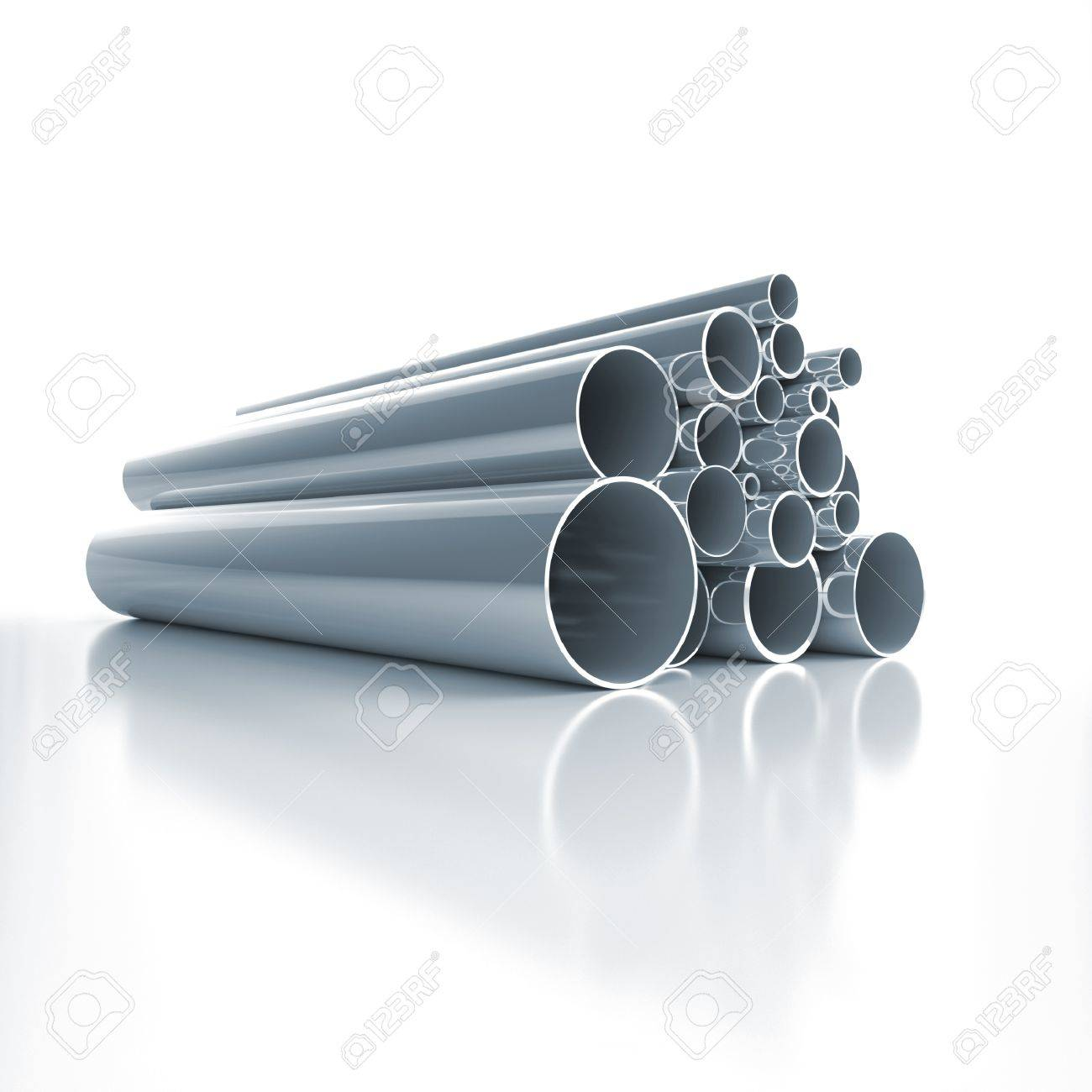 Lot of folded steel pipes Stock Photo - 11093270