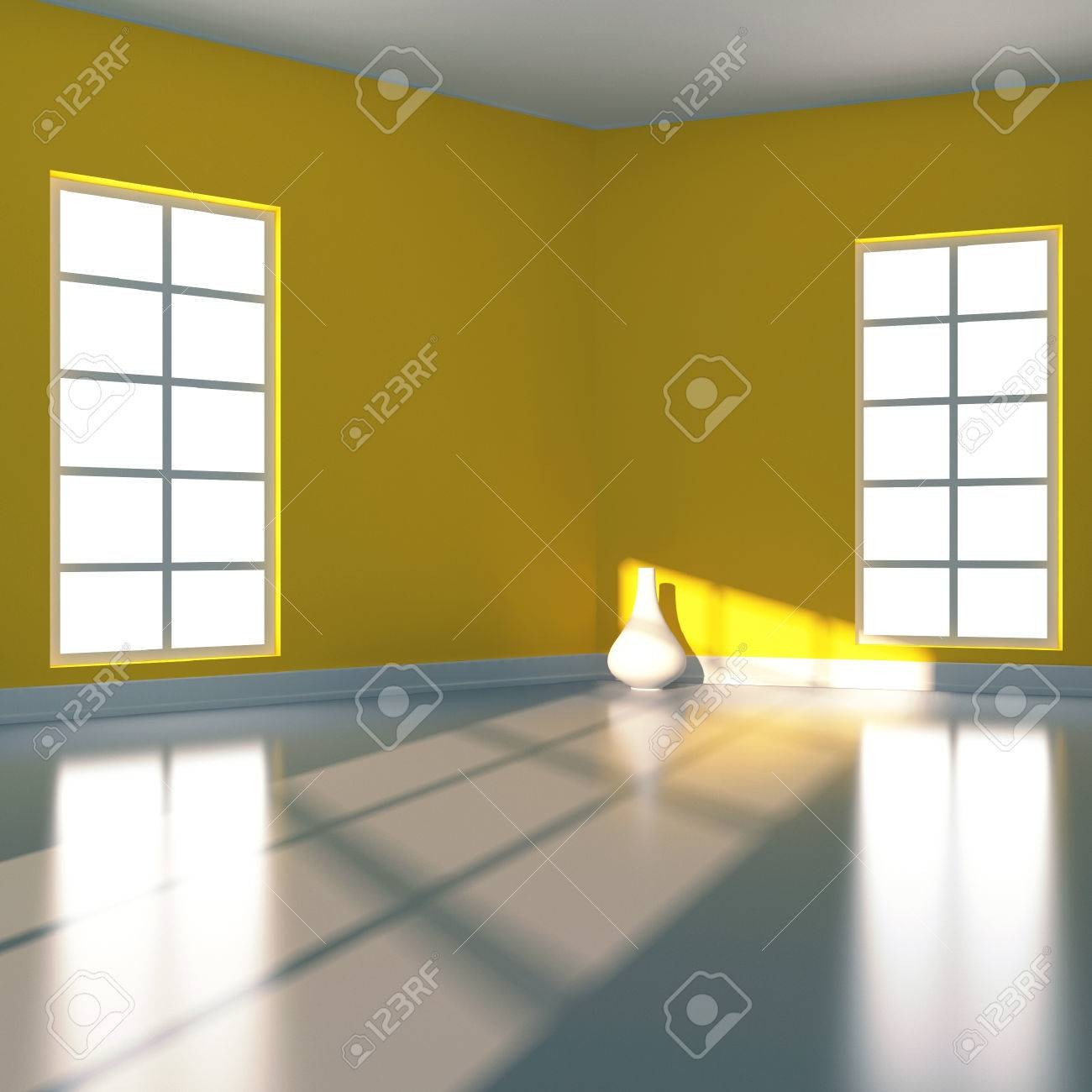 Empty room in yellow colour  3d render illustration Stock Illustration - 22279722