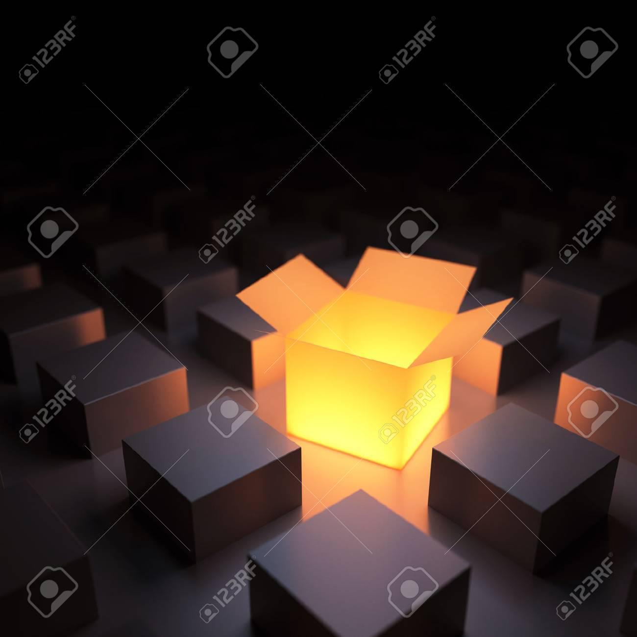 Unique luminous opened box. 3d render - 30026419