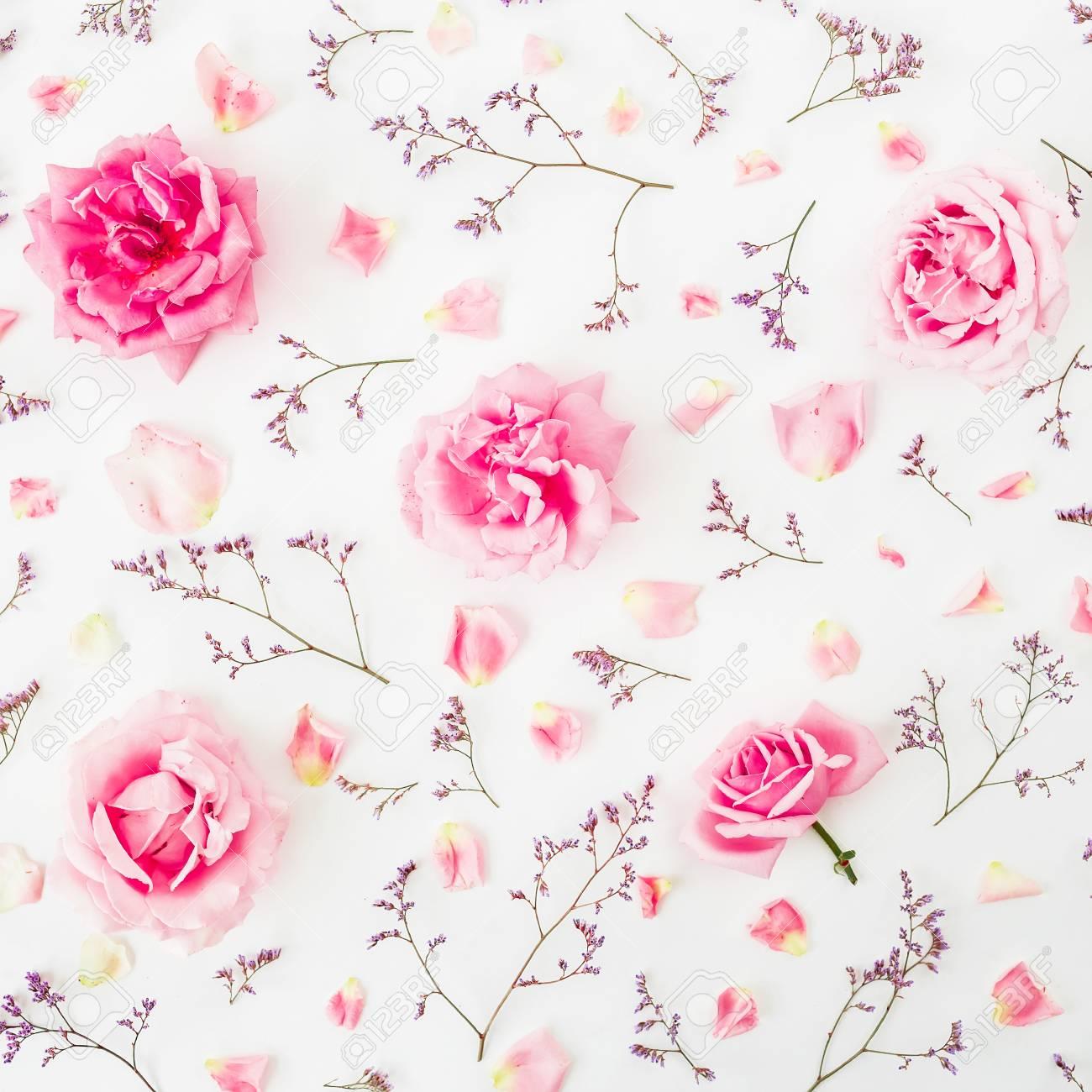Estampado De Flores De Rosas Flores Silvestres Y Petalos De Rosa
