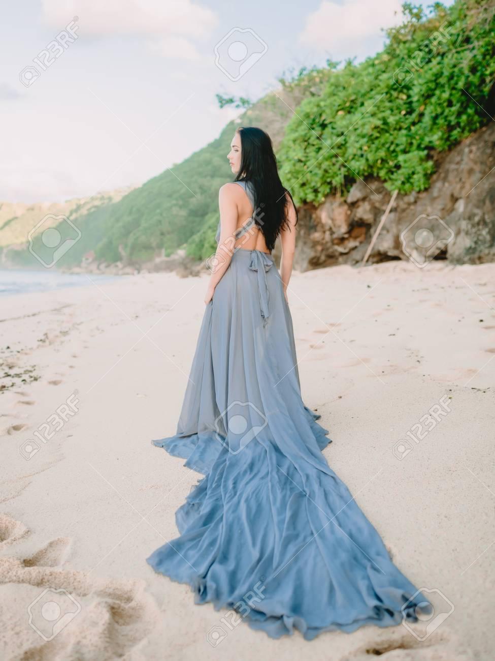 Blue Wedding Dress At The Beach