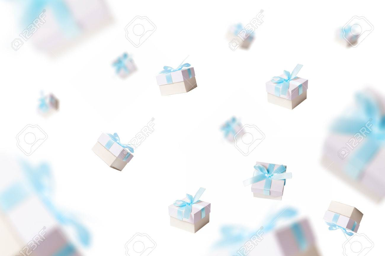 lots of gifts falling from the sky, white background - 47968789