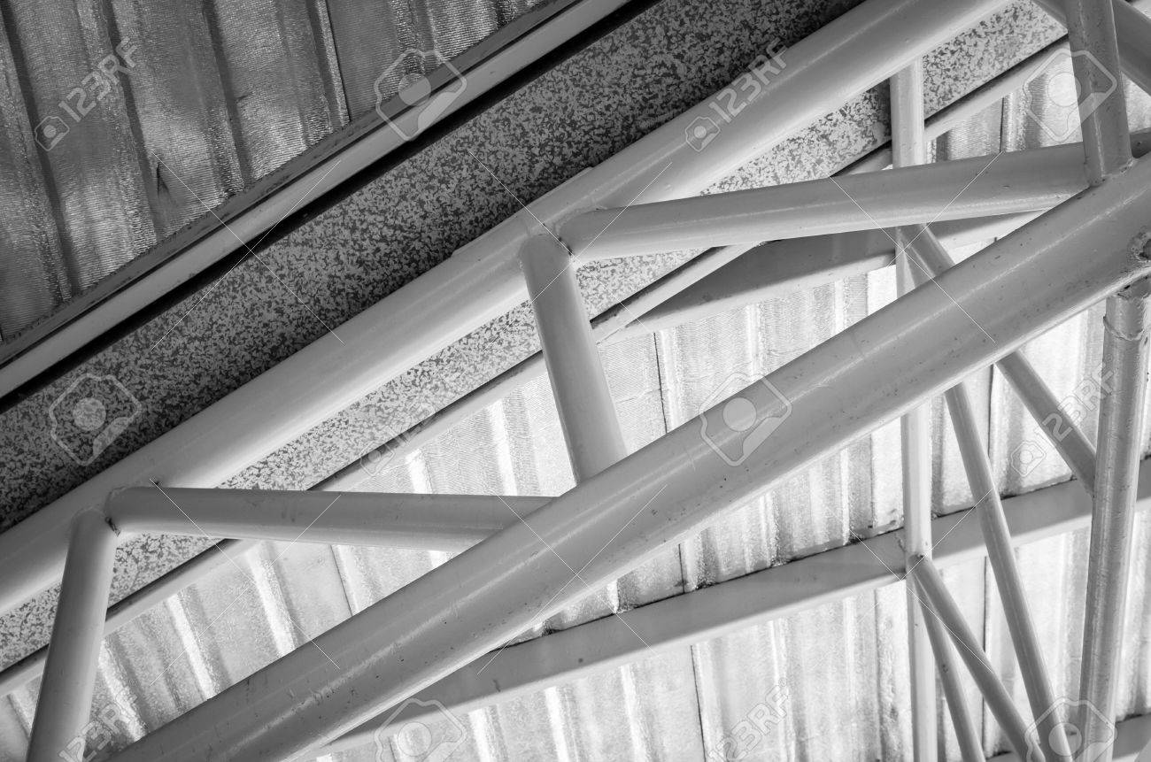 Steel Roof Truss With Zinc Gutter And Roof Insulation Black Stock Photo Picture And Royalty Free Image Image 41674759