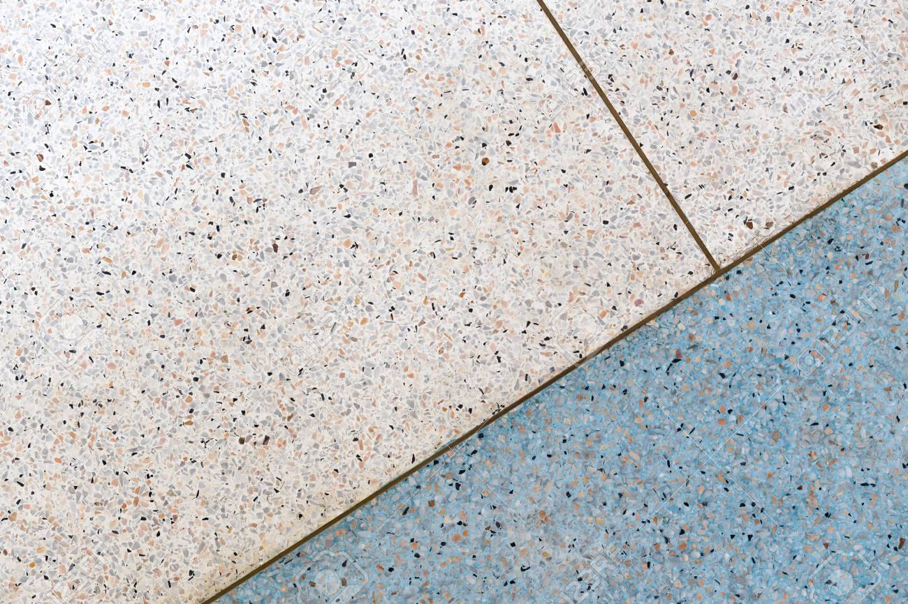 Terrazzo Flooring Background White And Blue Tone Copper Line