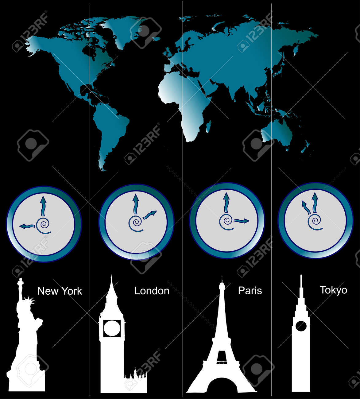 Image of a world map with clocks showing time of four cities stock image of a world map with clocks showing time of four cities new york gumiabroncs