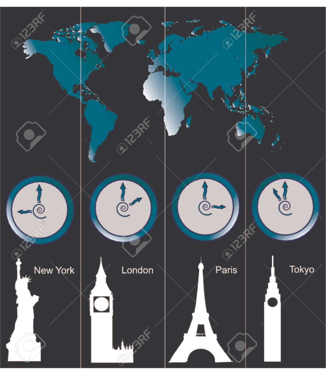 Vector image of a world map with clocks showing time of four vector vector image of a world map with clocks showing time of four cities new york london paris and tokyo and famous attractions in those cities publicscrutiny Image collections