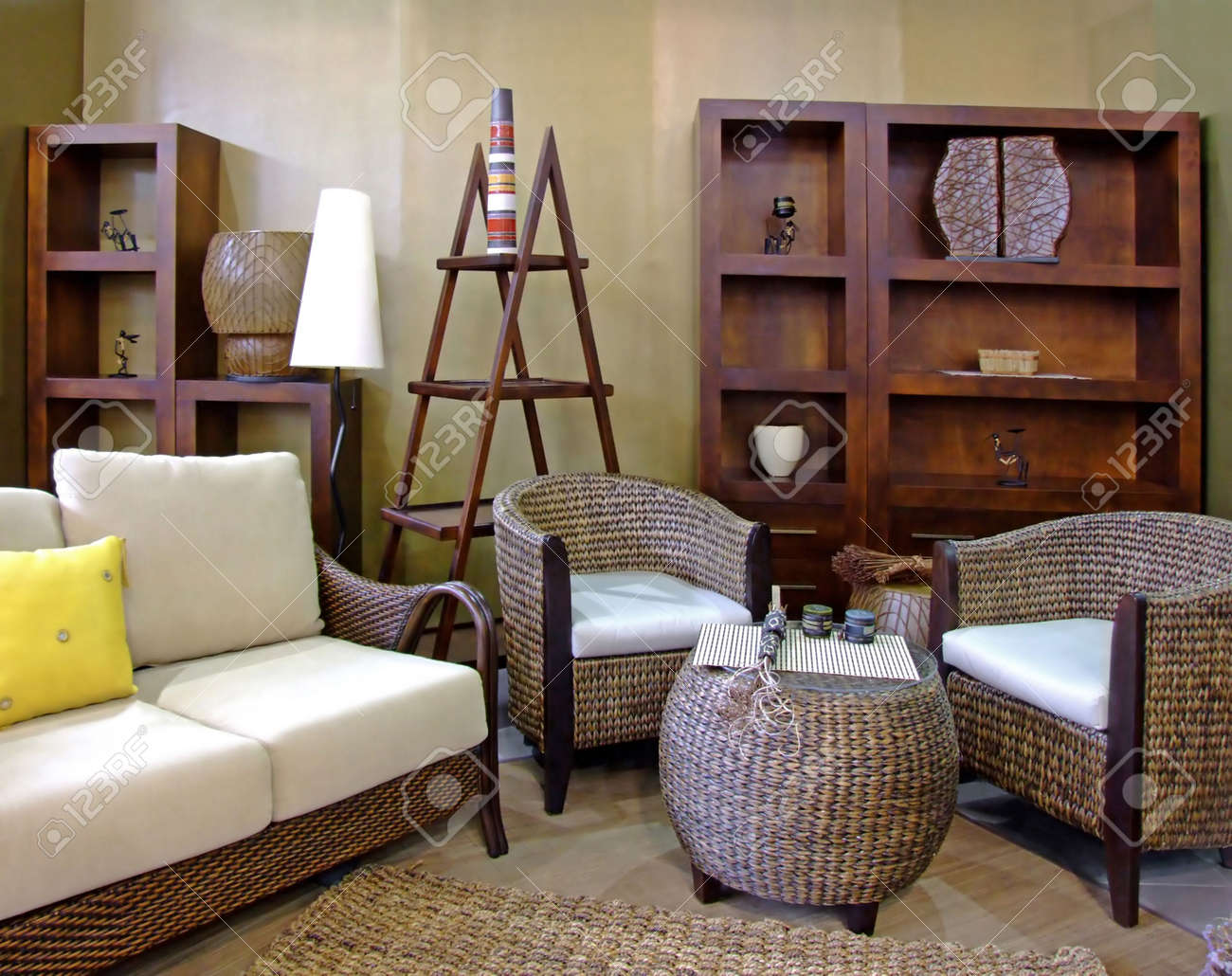 Living Room Wicker Furniture Modern Living Room In Brown Colors With Rattan Furniture Stock