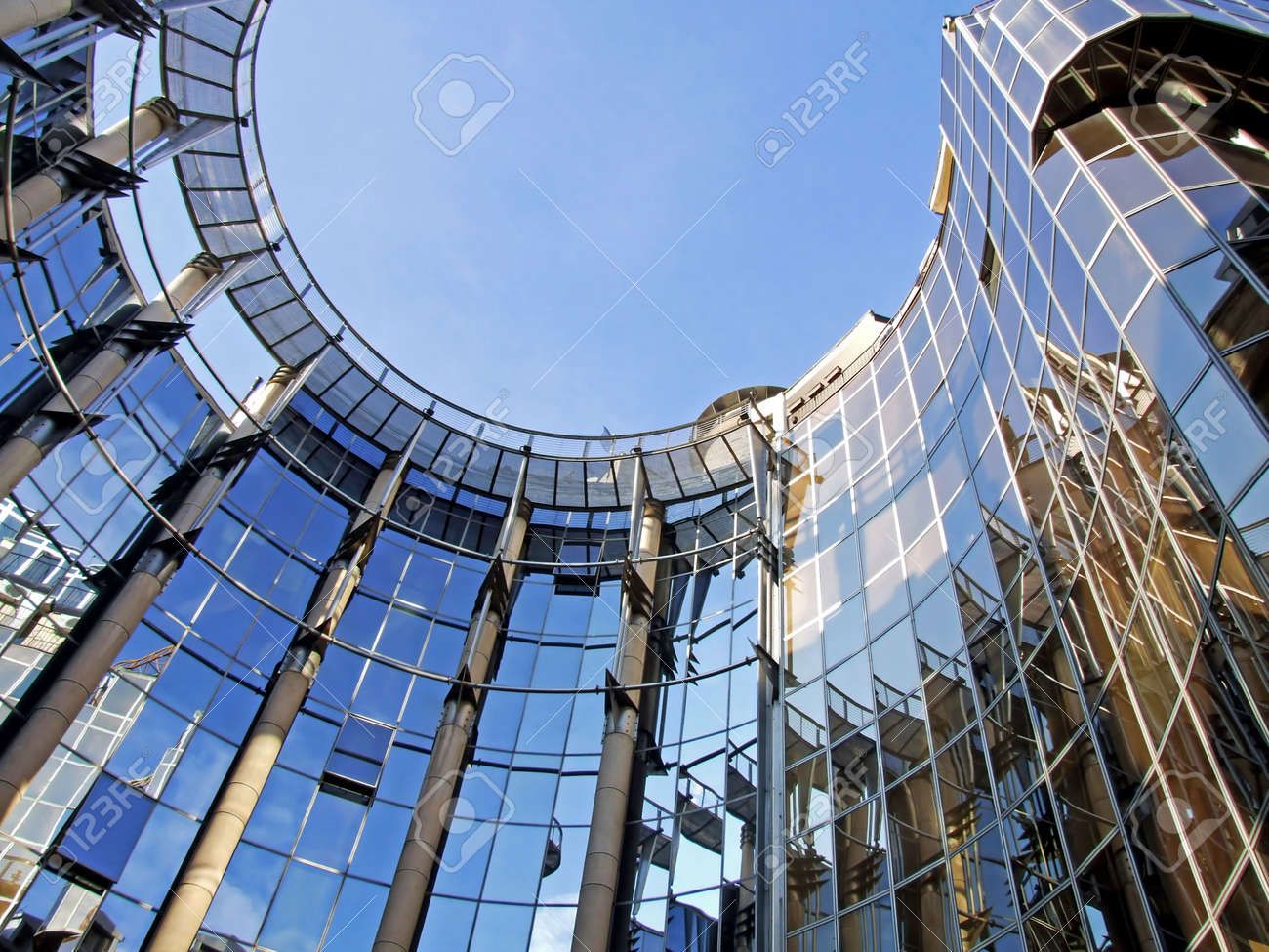 Oval business metal and glass facade building Stock Photo - 642798