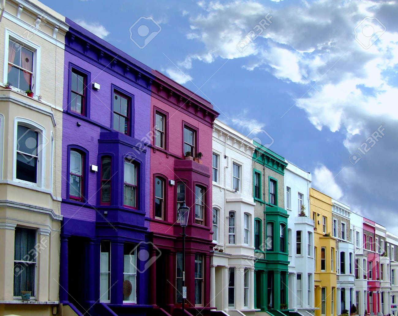 Multi color residental buildings in a row Stock Photo - 701383