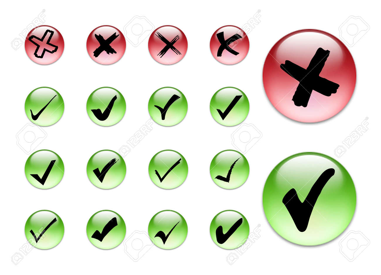 3d collection of check in and x symbol Stock Photo - 706351