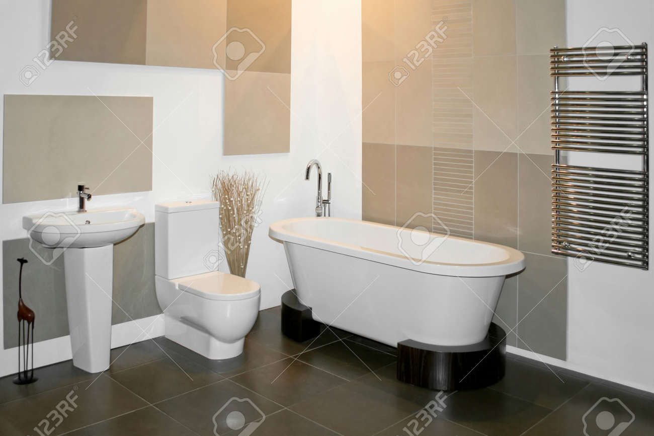 Big Round Bath And Toilet In Bathroom Stock Photo, Picture And ...