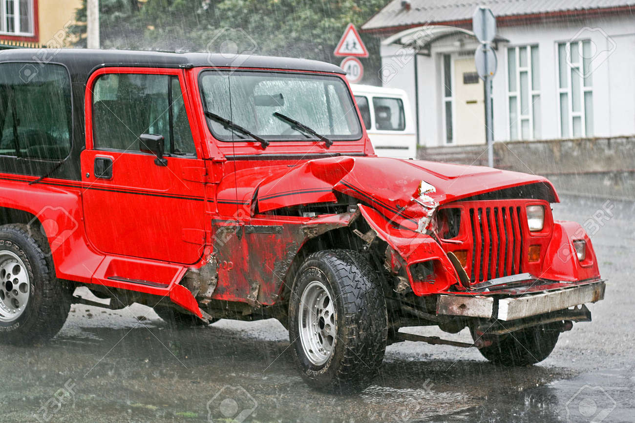 Crashed Red Suv In Traffic Terrific Accident Stock Photo Picture