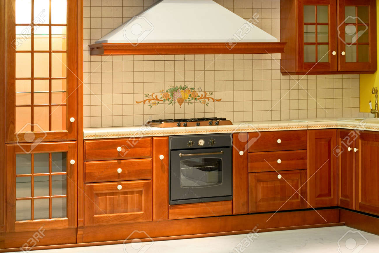 Big and new traditional look wooden kitchen Stock Photo - 2085643