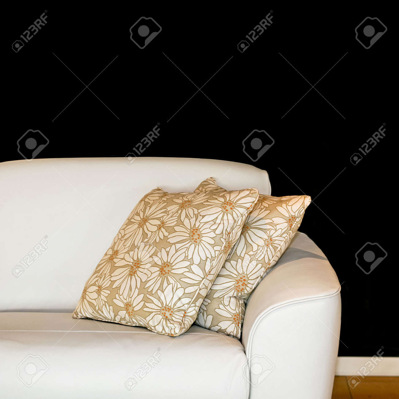 Excellent White Sofa With Two Pillows And Floral Design Gamerscity Chair Design For Home Gamerscityorg