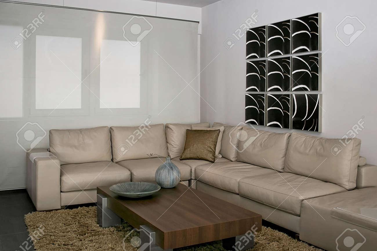 Lumineux et moderne salle de séjour avec coin salon grand