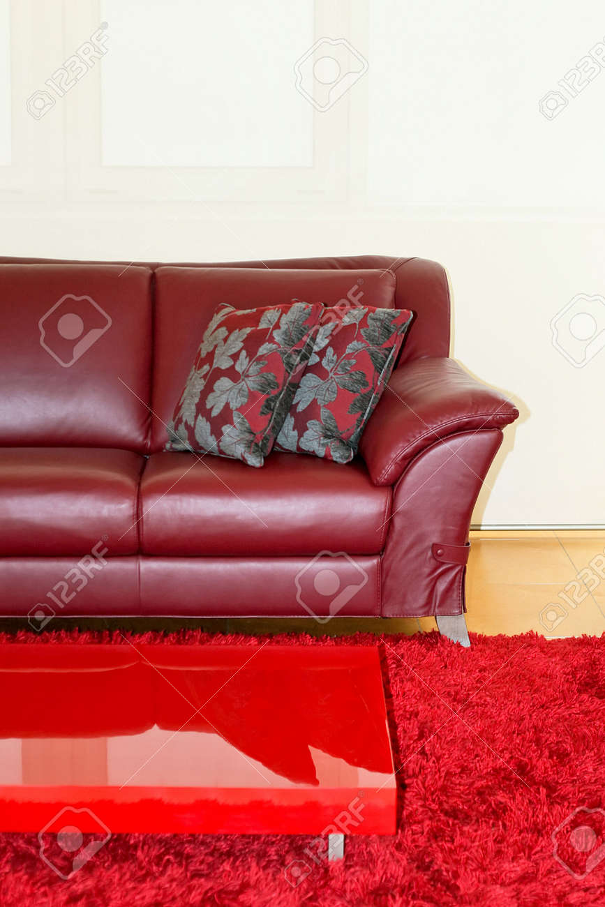 Part of dark red leather sofa and pillows