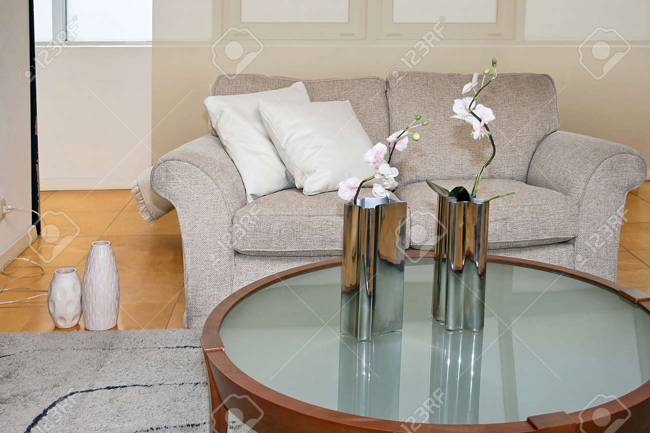 living room with sofa and glass table Stock Photo - 2163241