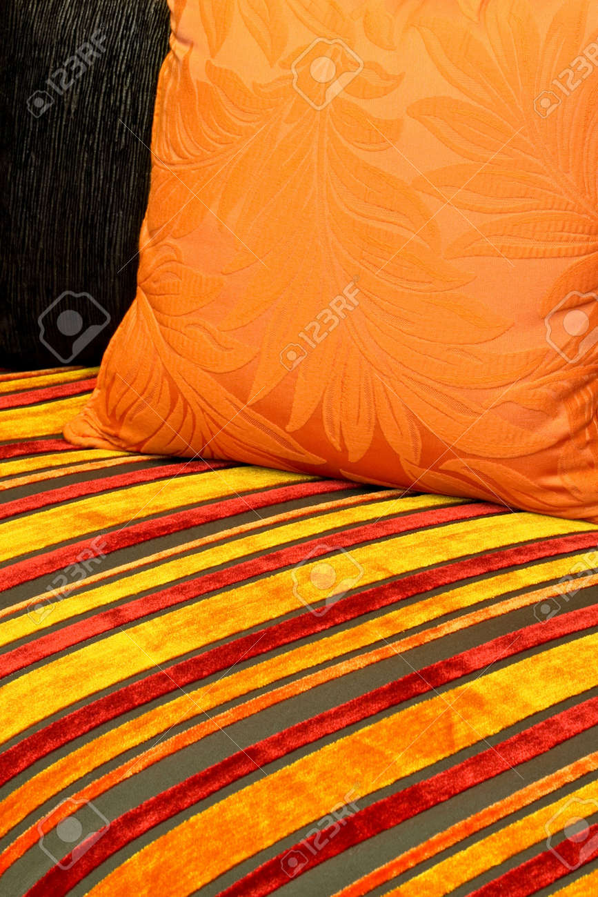 Decorative pillow and textile material with straps Stock Photo - 2309325