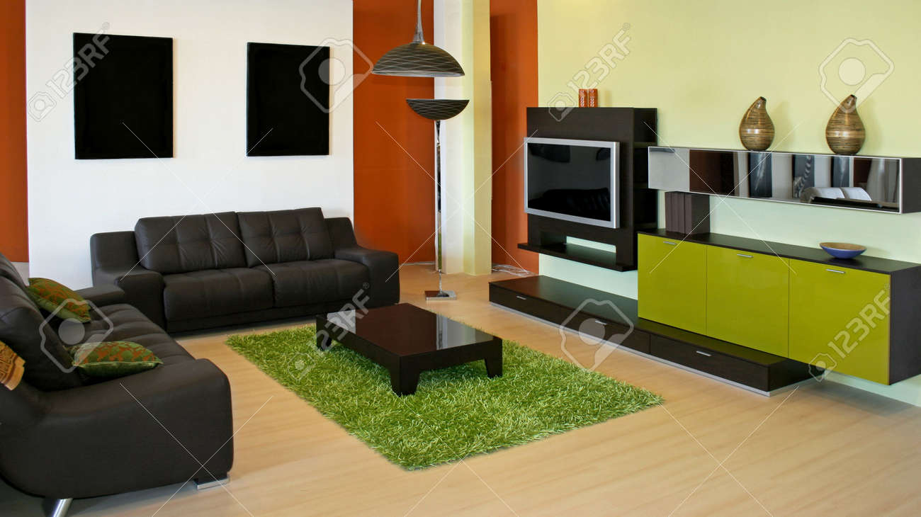 Modern Living Room With Green And Terracotta Colors Stock Photo   2391173