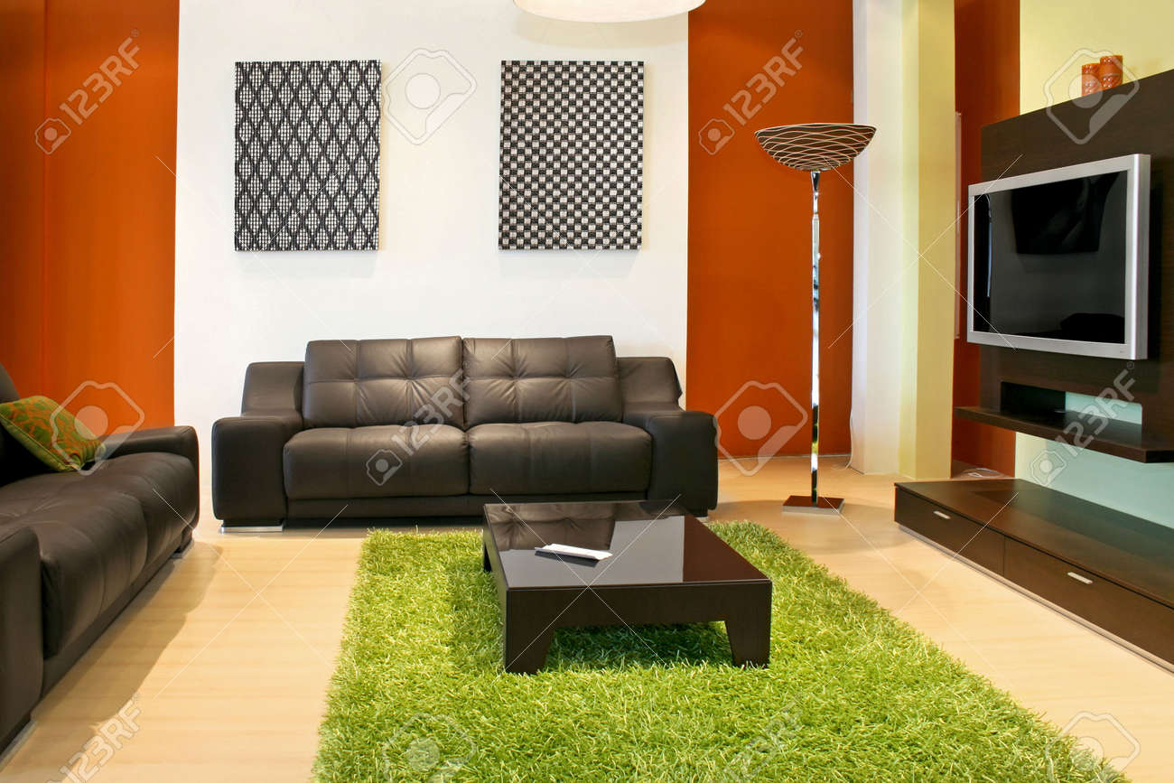 Delightful Modern Living Room With Green And Terracotta Colors Stock Photo   2395264
