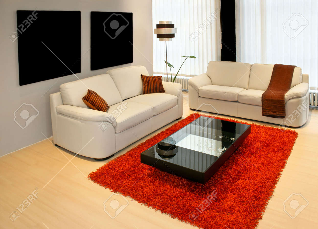Modern living room with two leather sofas Stock Photo - 2491313