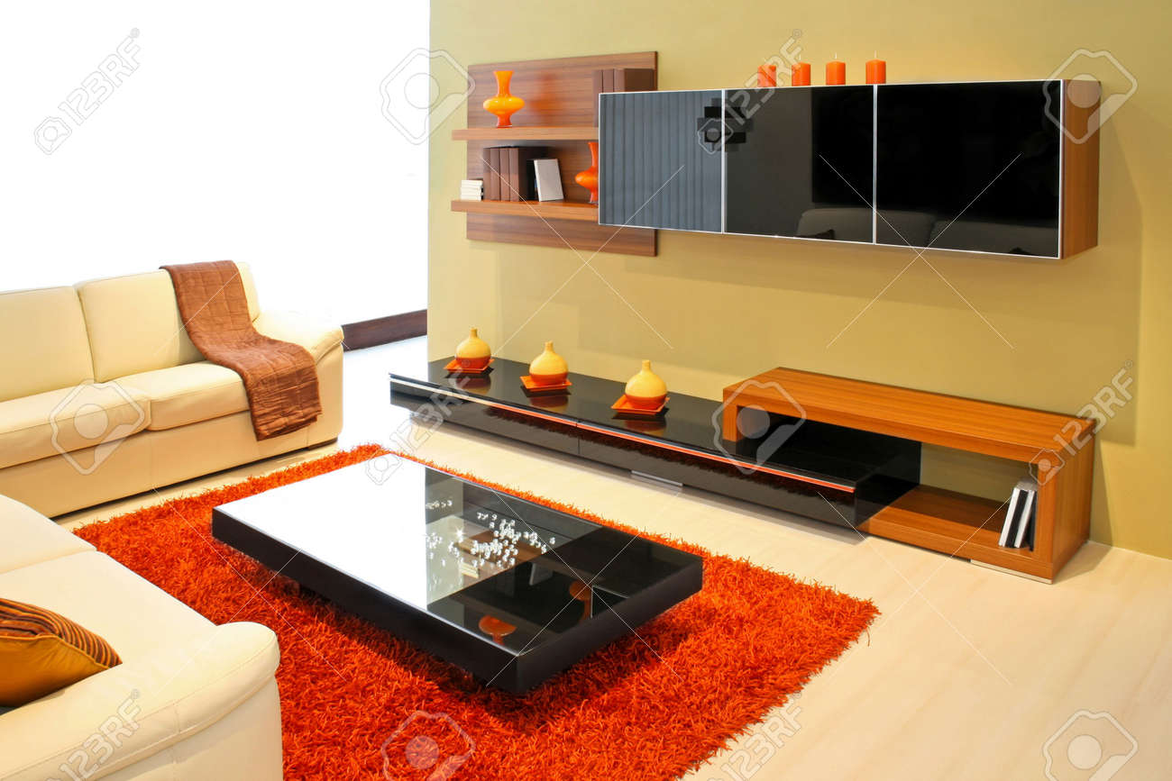 Modern Living Room With Wooden Shelves And Details Stock Photo   2491316 Part 50