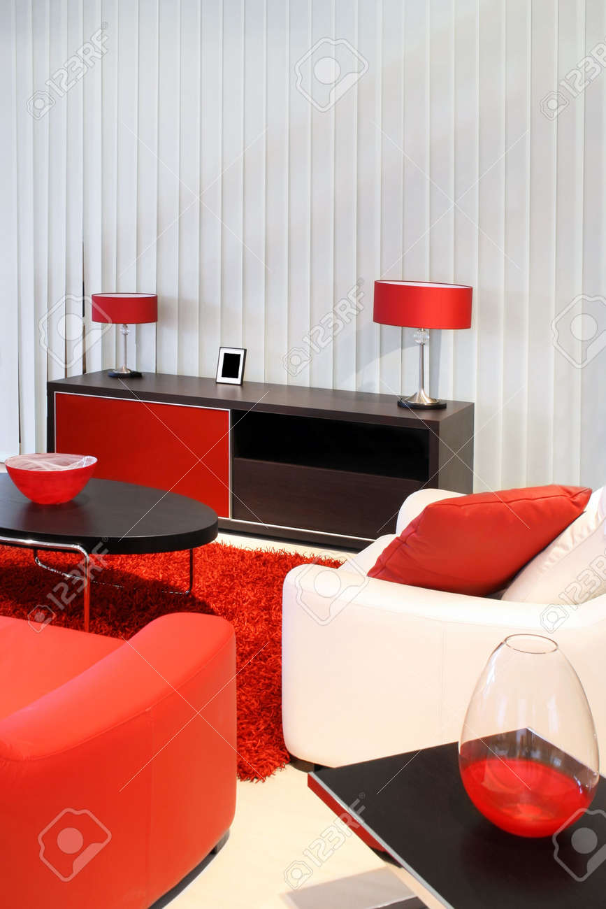 Modern Living Room With Red And Black Furniture Stock Photo . Part 33
