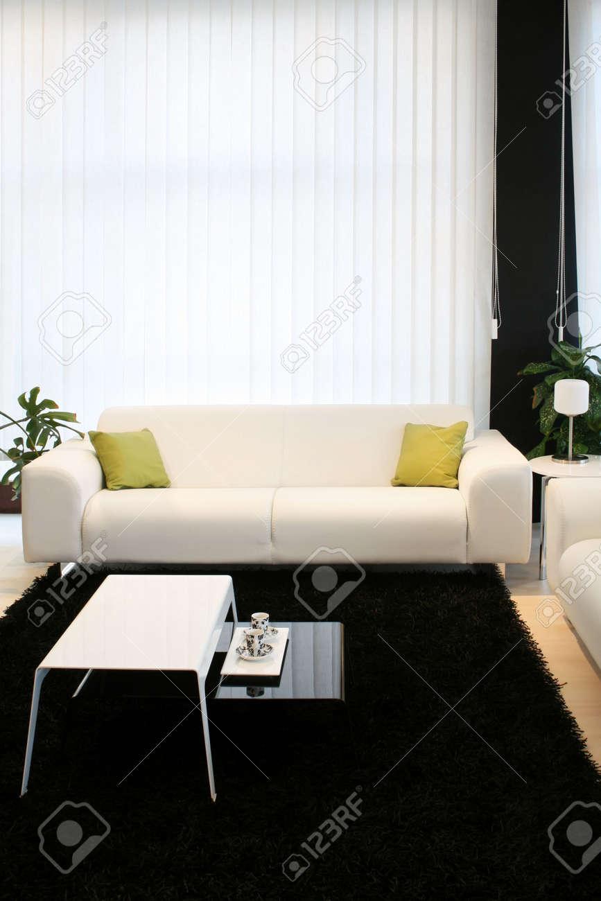 Woonkamer met witte sofa en zwart tapijt royalty vrije foto ...