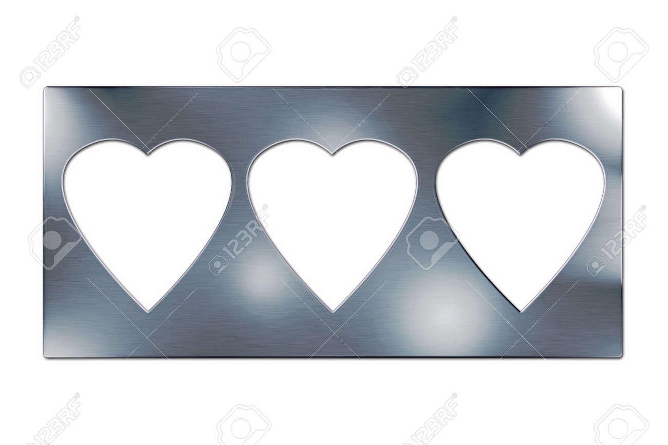 Three Hearts In Brushed Metal Frame Isolated Stock Photo, Picture ...