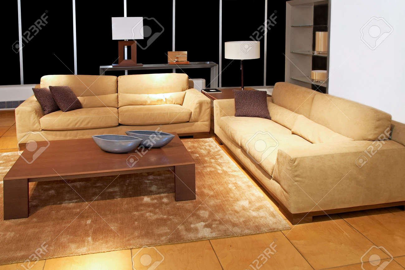 Modern Brown Living Room With Two Sofas Stock Photo Picture And