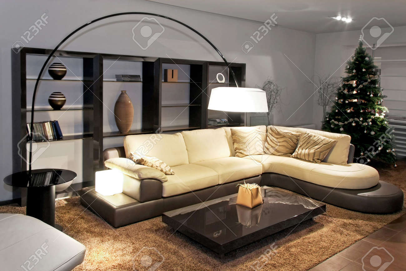 contemporary living room with big sitting area stock photo