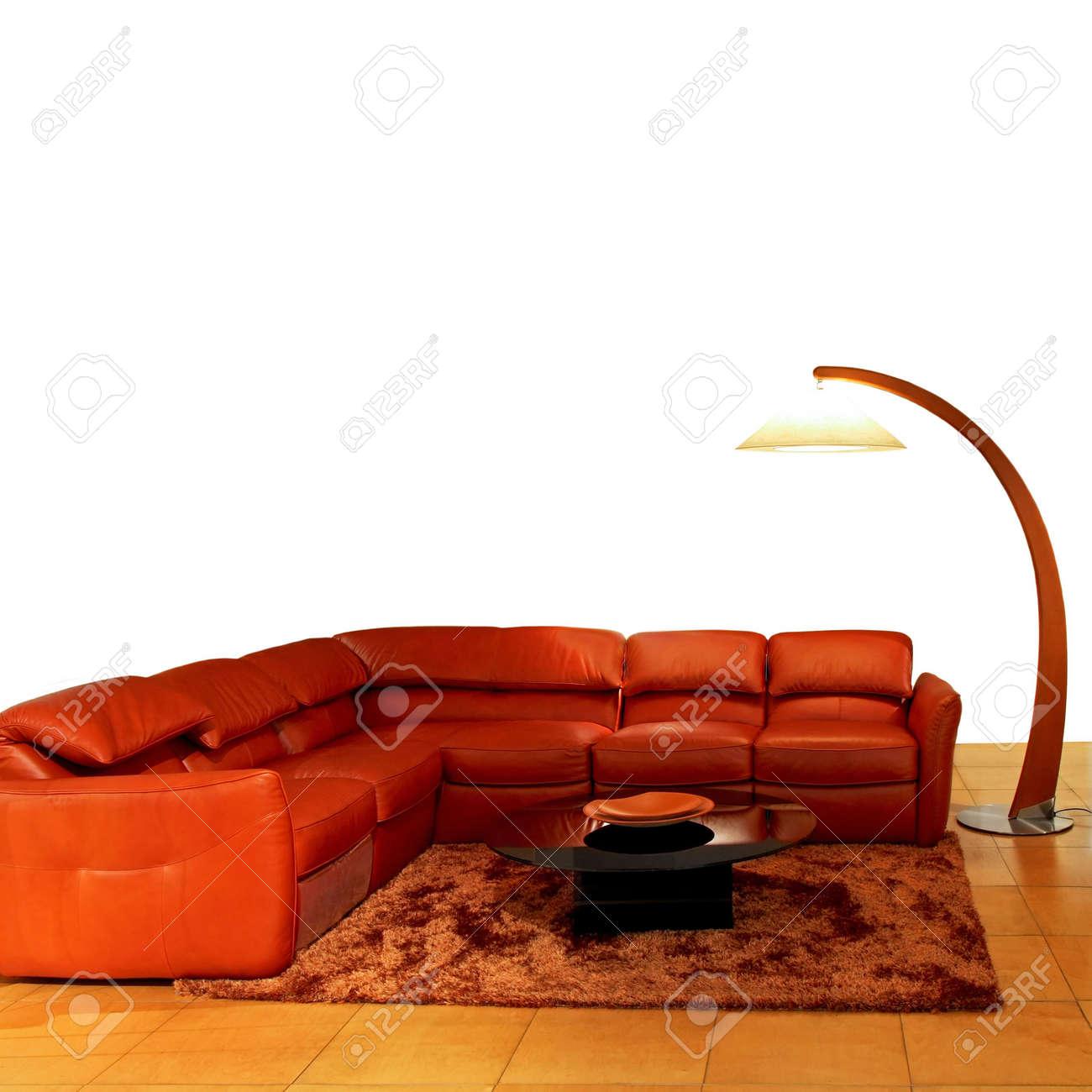 Orange living room with big sitting area Stock Photo - 2691409