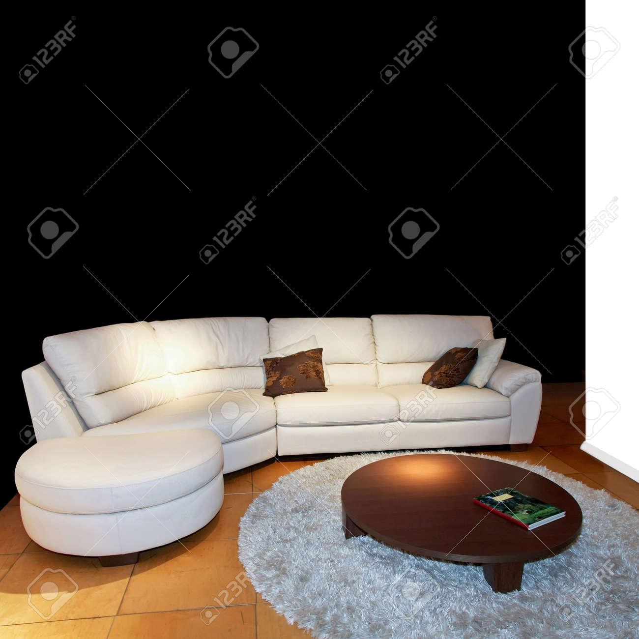 Canapé Cuir Blanc Qui Jaunit modern salon avec canapé cuir blanc