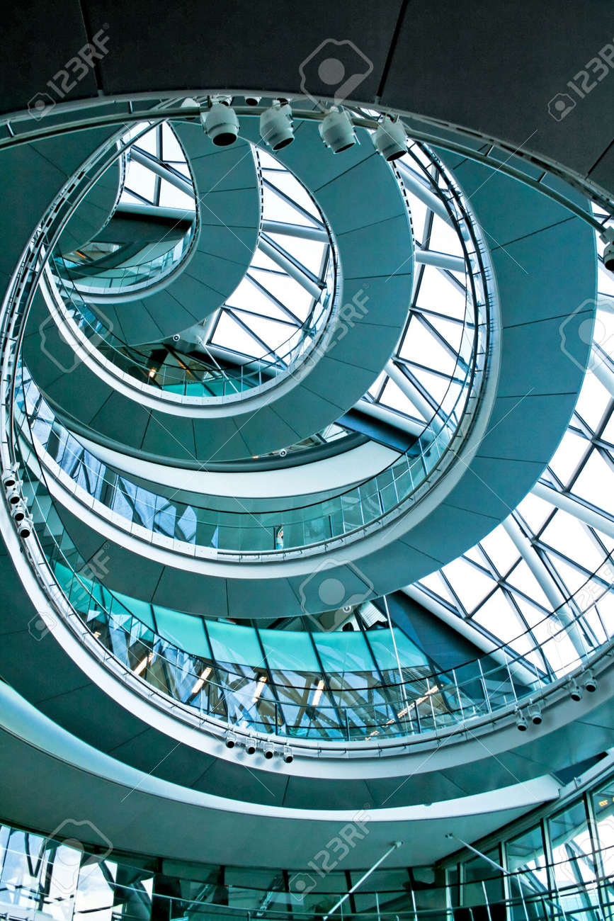 Blue spiral stairway in the middle of building Stock Photo - 2850781