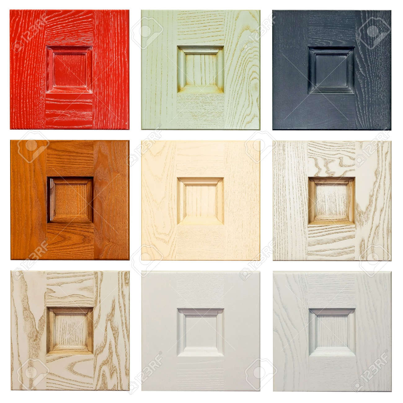 wood material color samples for furniture industry stock photo