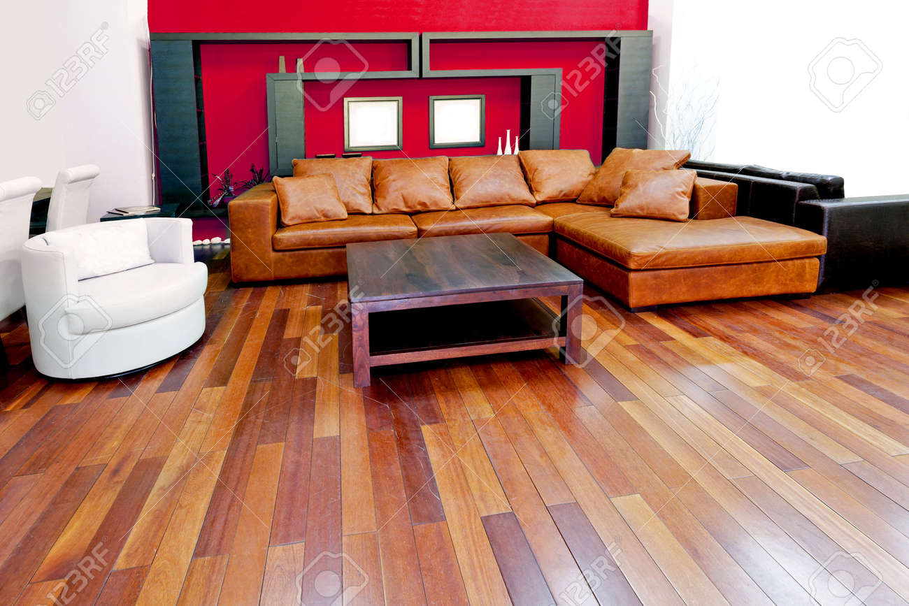 Brown and red living room - Red Living Room With Brown Leather Sofa Stock Photo 3060207