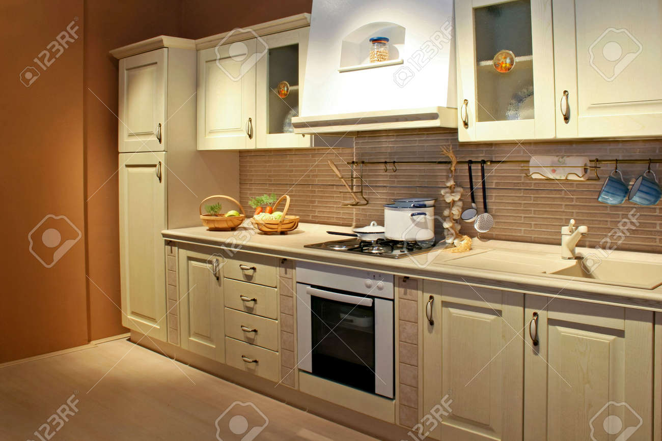 vintage style kitchen interior in beige color stock photo, picture